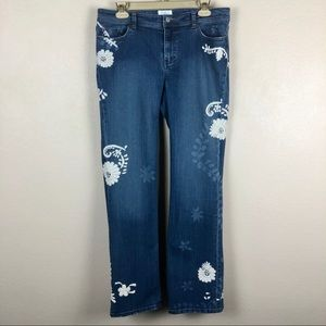 White House Black Market • Floral Embroidered Jean